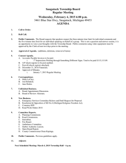 Township Board Meeting February 4, 2015