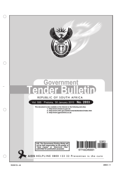 Tender bulletin 2853 - South African Government