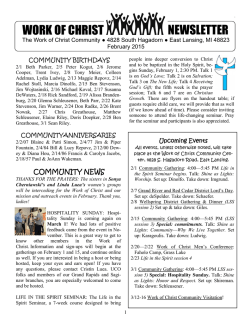 NEWSLETTER WORK OF CHRIST - The Work of Christ Community