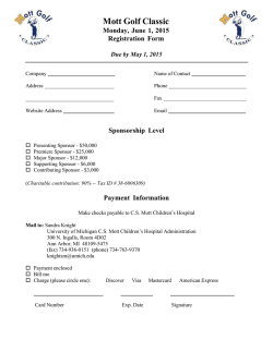 Mott Golf Classic Monday, June 1, 2015 Registration Form