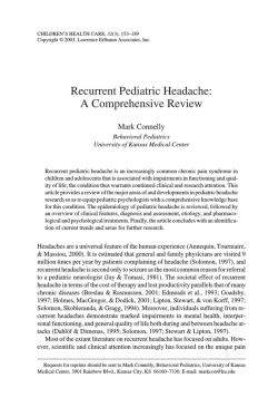 Recurrent Pediatric Headache: A Comprehensive