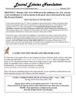 Laurel Estates Newsletter