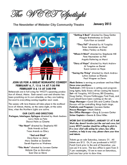 Newsletter - Webster City Community Theatre