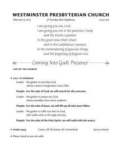 Sunday worship guide and news - Westminster Presbyterian Church