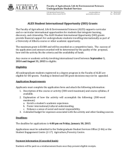 (SIO) Grants - Faculty of Agricultural, Life and Environmental Sciences