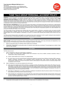 TUNE TALK GROUP PERSONAL ACCIDENT POLICY