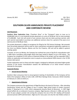 Southern Silver Announces Private Placement and Corporate