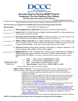 Associate Degree Nursing (ADN) Program Traditional Two-Year