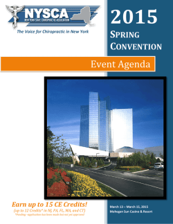download event agenda - New York State Chiropractic Association