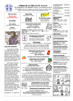 Bulletin (English) - Church of The Holy Cross