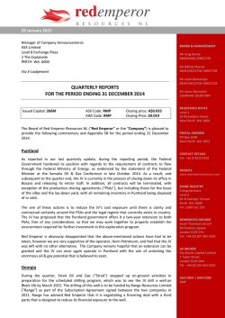 Quarterly Reports - Red Emperor Resources