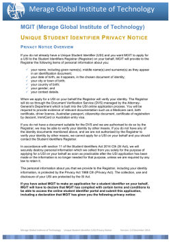 (USI) Privacy Notice - Merage Global Institute of Technology