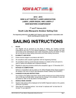 SAILING INSTRUCTIONS - NSW/ACT Laser Association