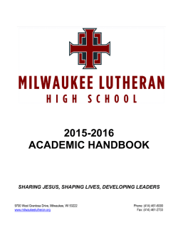 2015-2016 academic handbook - Milwaukee Lutheran High School