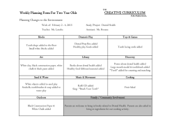 CREATIVE CURRICULUM Weekly Planning Form For Two Year Olds