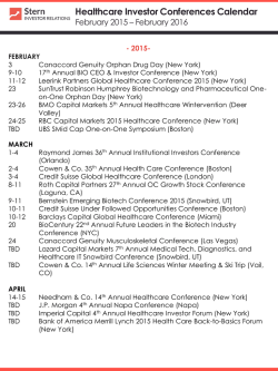 Healthcare Investor Conferences Calendar