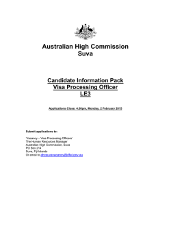 Australian High Commission Suva Candidate Information Pack Visa