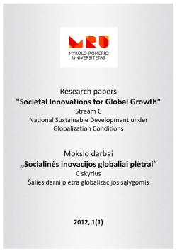 Societal Innovations for Global Growth