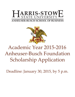 2015-2016 Anheuser-Busch Foundation Scholarship Application