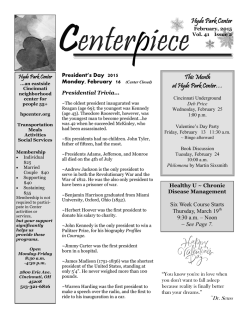 February 2015 Centerpiece - Hyde Park Center for Older Adults
