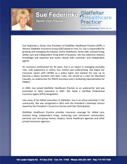 Sue Federinko is Senior Vice President of Glatfelter Healthcare