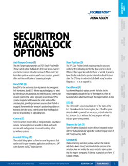 securitron Magnalock oPtions - Securitron Magnalock Corporation