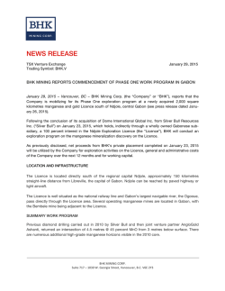NEWS RELEASE - BHK Mining Corp.