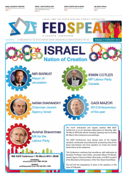 FedSpeak - Vol 1 - February 2015 - South African Zionist Federation