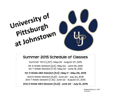 Summer 2015 - University of Pittsburgh at Johnstown