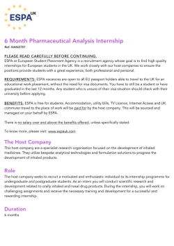 6 Month Pharmaceutical Analysis Internship