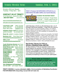 02-01-2015 weekly news - Trinity Lutheran Church