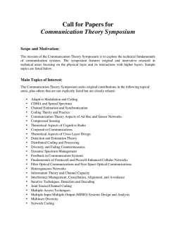 Call for Papers for Communication Theory Symposium