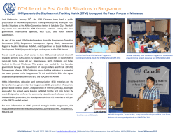 DTM Report in Post Conflict Situations in Bangsamoro