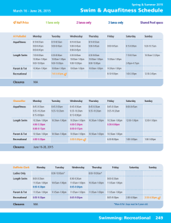 Swimming Recreational_Swim and Aquafitness Schedules