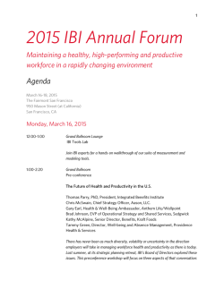 2015 IBI Annual Forum - Integrated Benefits Institute