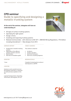 Metallic trunking CPD seminar guide