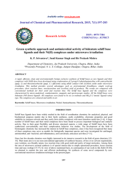 Green synthetic approach and antimicrobial activity of bidentate