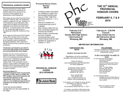 THE 33rd ANNUAL PROVINCIAL HONOUR CHOIRS FEBRUARY 6