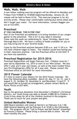 Walk, Walk, Walk Preschool Preschool Registration for 2015-2016
