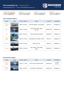 Fleet Availability List l January 2015
