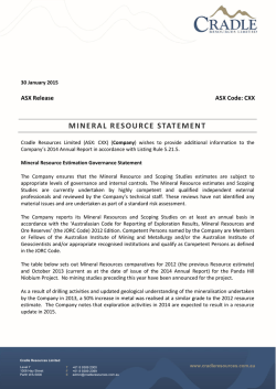 MINERAL RESOURCE STATEMENT