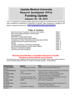 Funding Update - SUNY Upstate Medical University