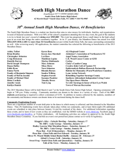 shmd 2015 press release - South High Marathon Dance