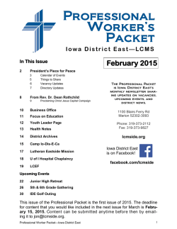 February 2015 - Iowa District East – LCMS