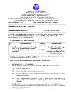 Tender Document - Mazagon Dock Limited