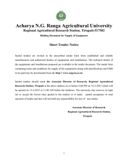 Tender notice for purchase of equipment to Pesticide Residue Lab