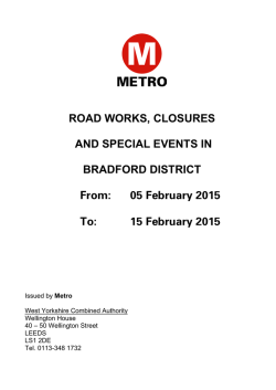 Bradford: roadworks, road closures and special events