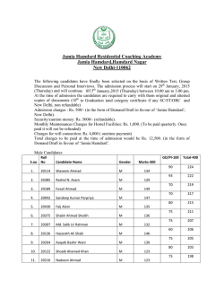 Selected candidates for admission-JHRCA-2015