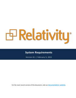 Relativity - System Requirements - 8.1