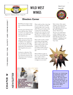 January newsletter - Wild West Wings GWRRA Oklahoma District